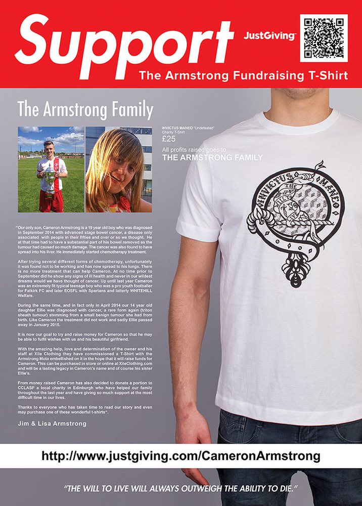 CAMERON ARMSTRONG FUNDRAISING T-SHIRT - THE WILL TO LIVE