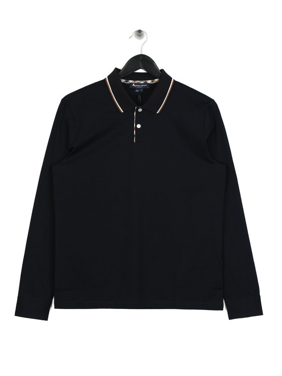 551470716 Aquascutum Bert Tipped Long Sleeved Polo Navy for Sale