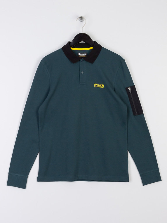 Barbour International Combine Long Sleeve Polo Dark Green