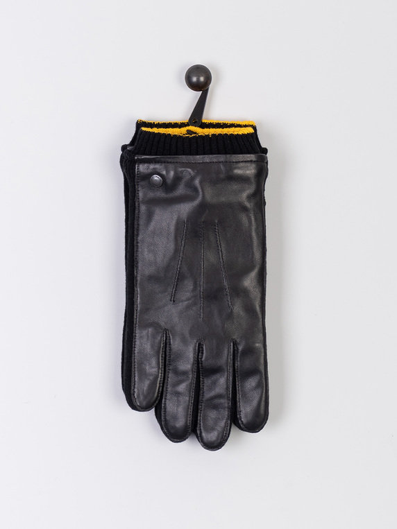 Barbour International Union Leather Gloves Black