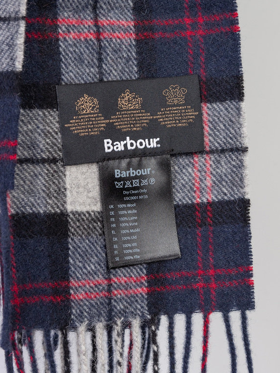Barbour Tartan Lambswool Scarf Blue Mix