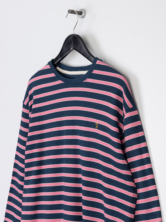 Farah Barrio Long Sleeve Stripe Knit T-Shirt Navy