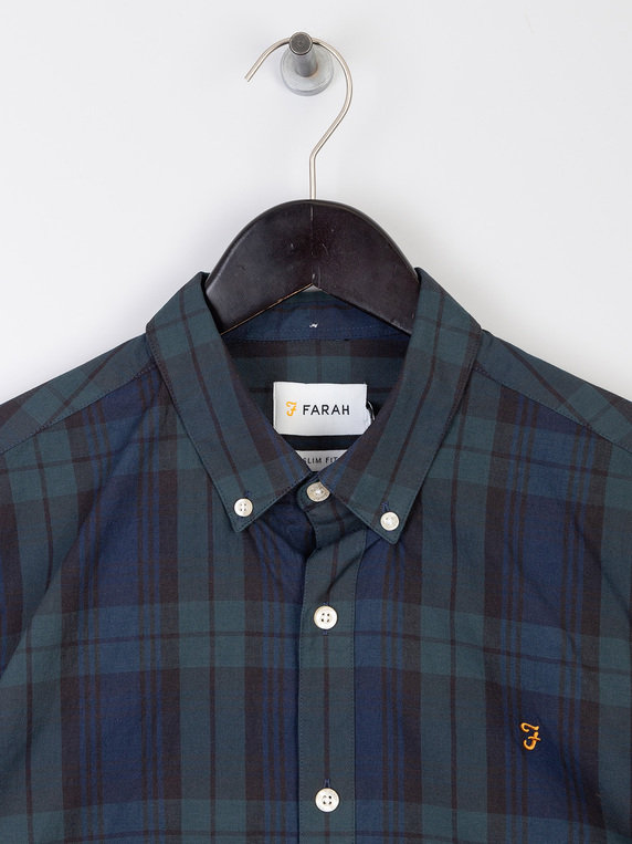 Farah Brewer Tartan Slim Long Sleeve Shirt Green