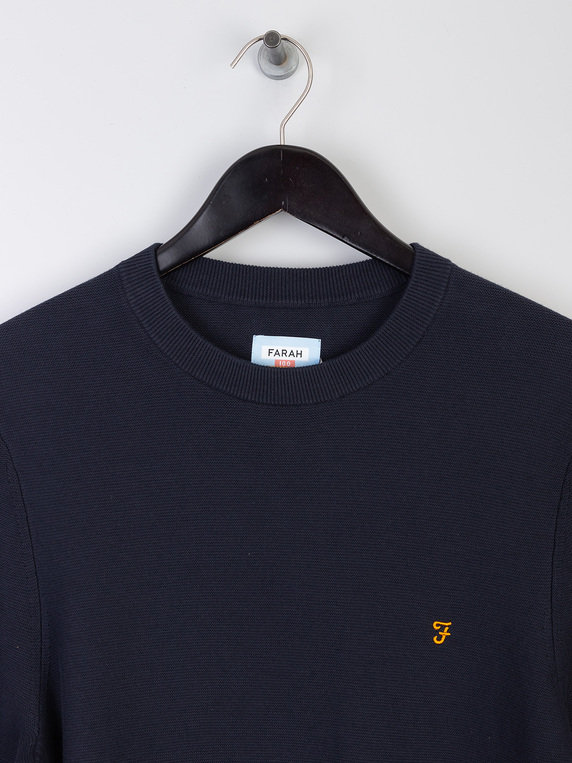 Farah Delta Knit Sweater Navy