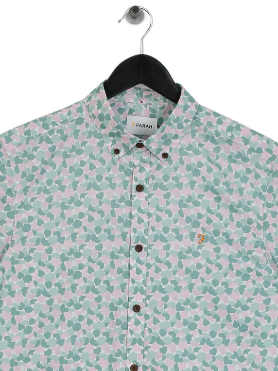 Farah Playas Short Sleeve Shirt Pink/Green