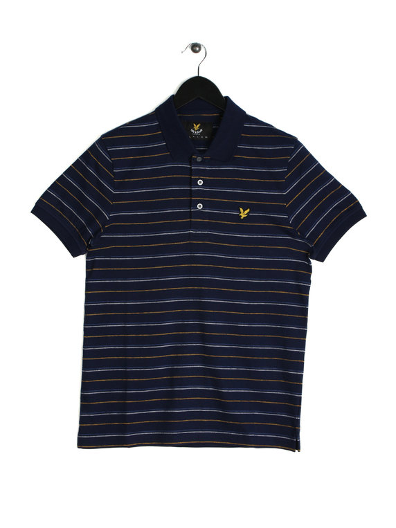 Lyle & Scott Pick Stitch Stripe Polo Shirt Navy