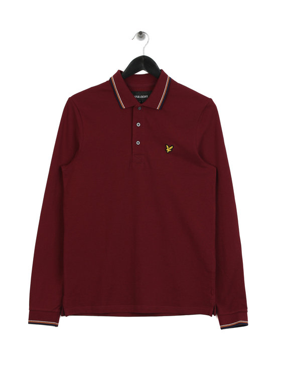 9770a56c9 Lyle   Scott Long Sleeve Tipped Polo Shirt Red for Sale