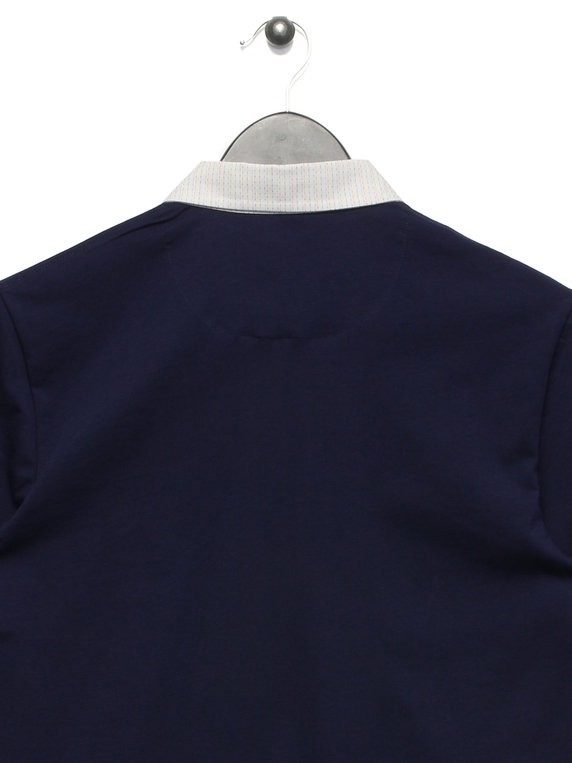 Lyle & Scott Woven Collar Polo Navy
