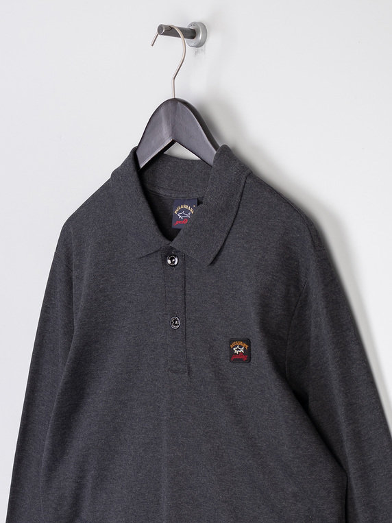 Paul & Shark Long Sleeve Polo Charcoal/Black