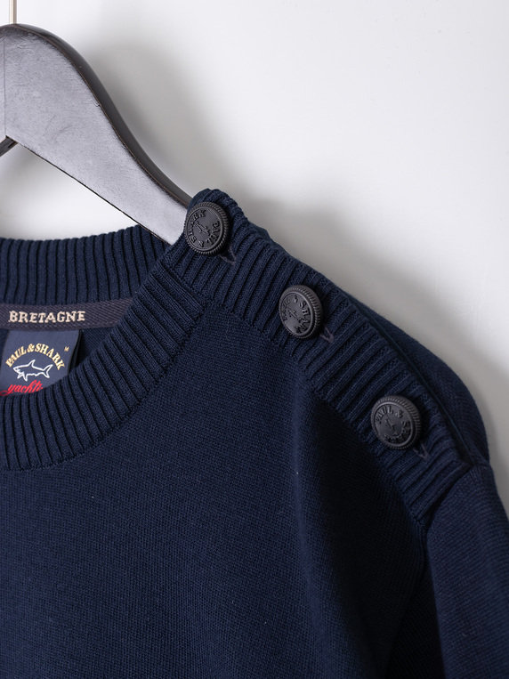Paul & Shark Shoulder Buttoned Knitted Sweater Navy
