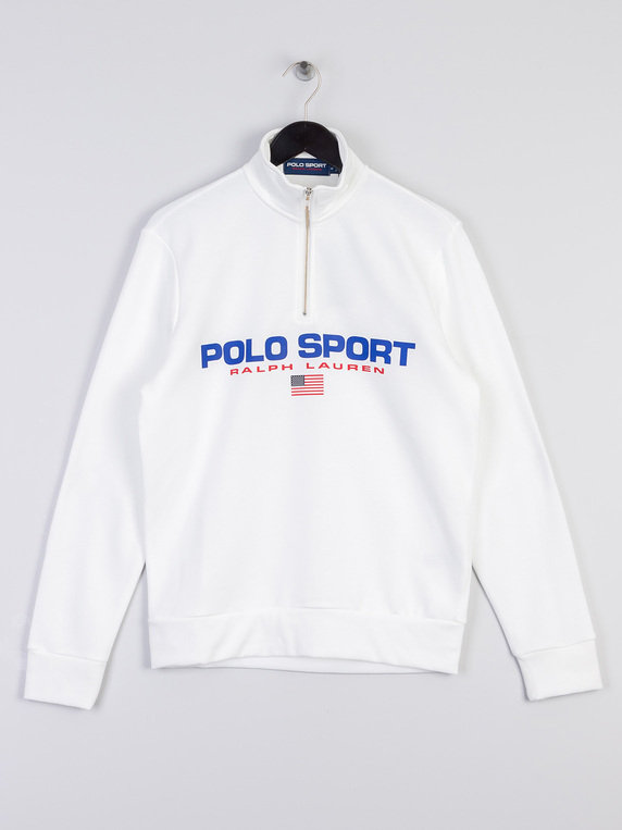Half Polo Ralph Sweat White Sport Zip Lauren 0wmNn8