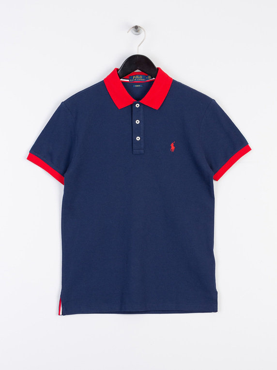 b0abc97cee63f Polo Ralph Lauren Tipped Placket Short Sleeve Polo Shirt Navy for Sale