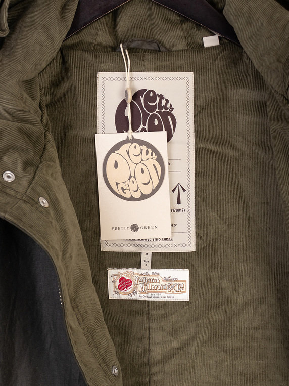 Pretty Green British Millerain Waxed Parka Khaki Green