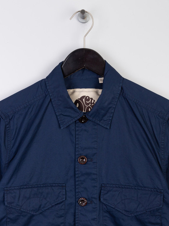 Pretty Green Button Up Over Shirt Navy