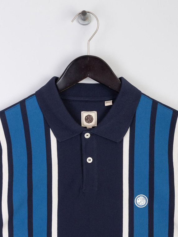 Pretty Green Contrast Panel Polo Shirt Blue