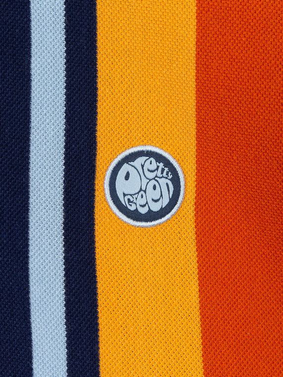 Pretty Green Engineered Stripe Polo Shirt Navy