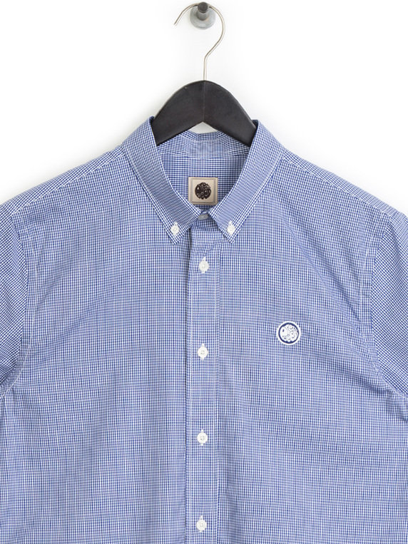 7af6a4e2fd8 Pretty Green Gingham Check Shirt Navy for Sale