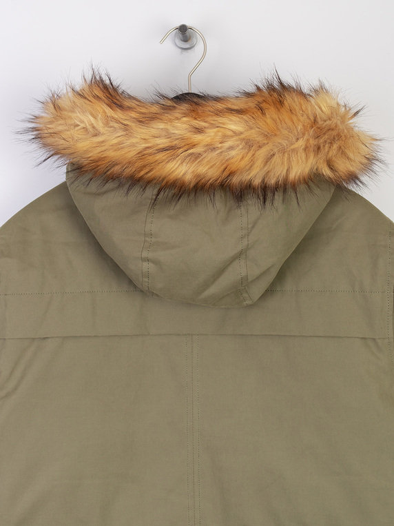 Pretty Green Hooded Padded Parka Jacket Green