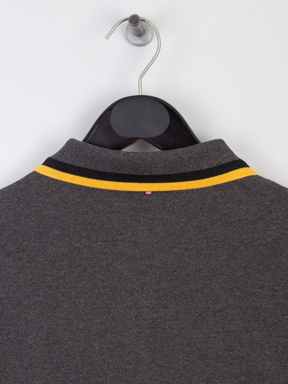 Pretty Green Long Sleeve Embroidered Polo Grey