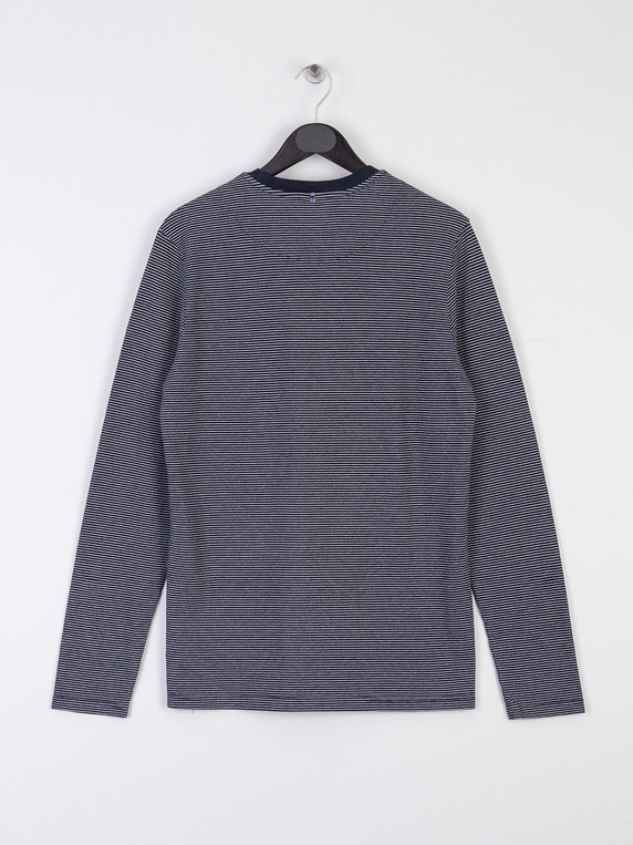 Pretty Green Long Sleeve Striped Sweat Shirt Navy