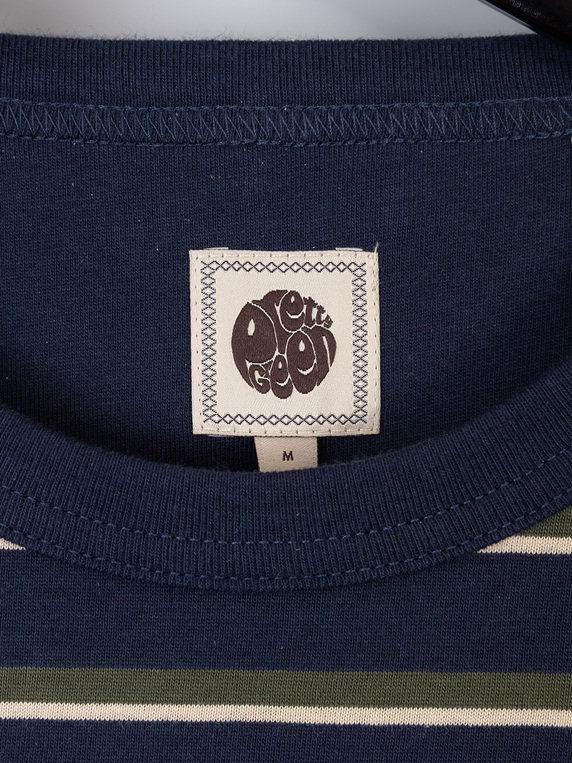 Pretty Green Long Sleeve Striped T-Shirt Navy