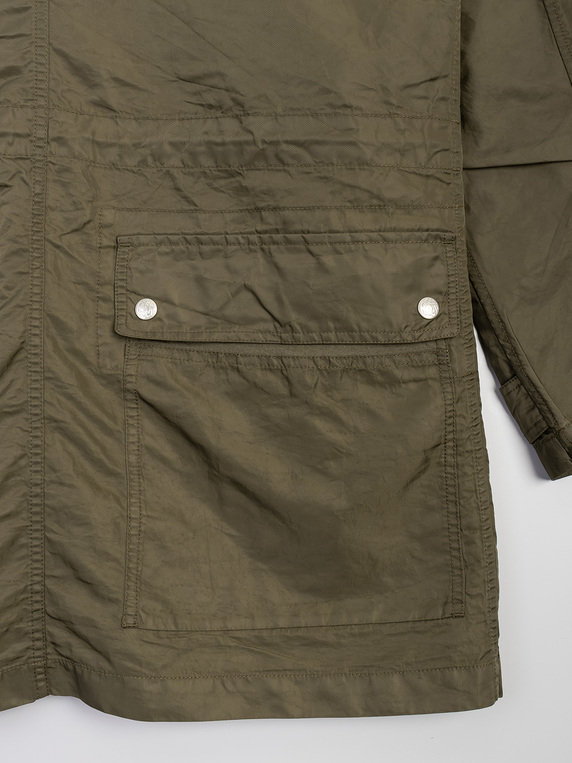 Pretty Green Nylon Zip Through Parka Khaki