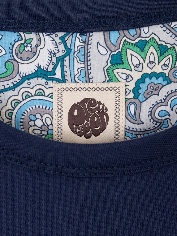 Pretty Green Paisley Chest Embroidery T-Shirt Navy