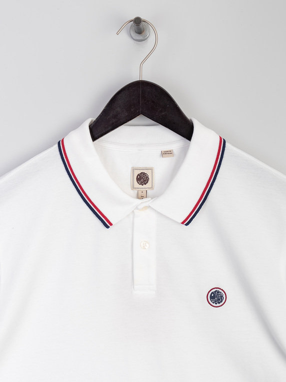 Pretty Green Tipped Pique Polo Shirt White