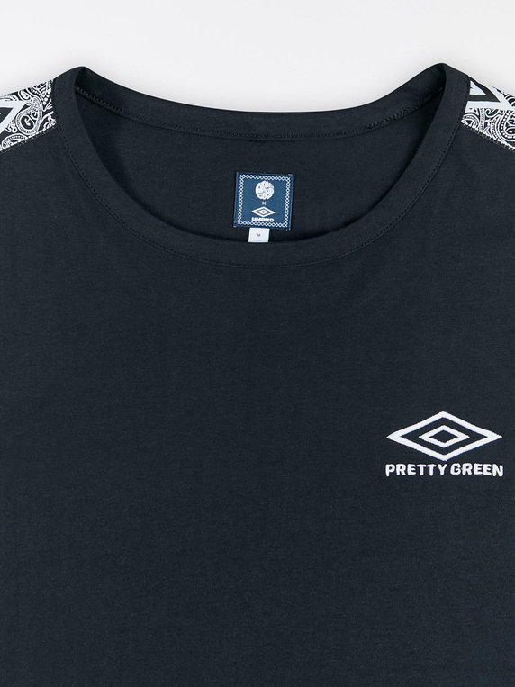Pretty Green X Umbro Tape Sleeve T-Shirt Black
