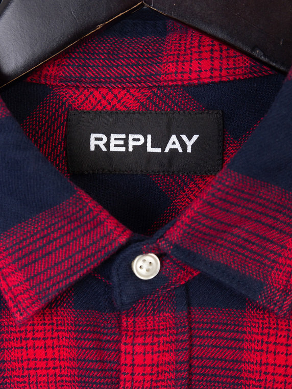 Replay Flannel Check Shirt Navy & Red