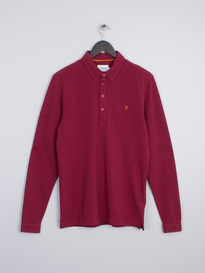 FARAH MERRIWEATHER Long Sleeve POLO Claret Red