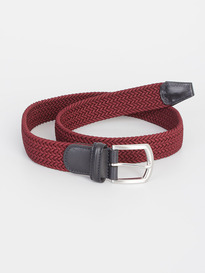 Andersons Calf Leather Textile Belt Red