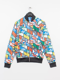 ADIDAS LABELS AOP SST  TRACK TOP BLACK
