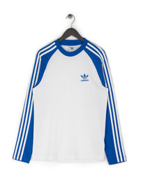 Adidas 3-Stripes Long Sleeve T-Shirt White/ Blue