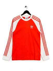 adidas 3 Stripes LS T-Shirt Red