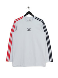 adidas Long Sleeve Stripe T-Shirt Grey