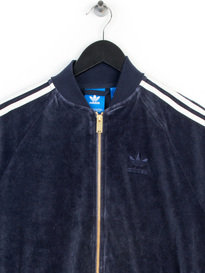 ADIDAS VELOUR SST TRACK TOP BLUE