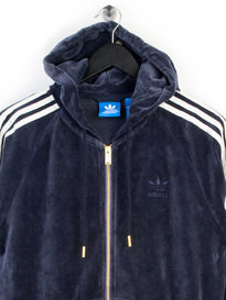 ADIDAS VELOUR ZIP UP HOODY BLUE