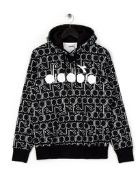 Diadora All Over Logo Hoodie Black