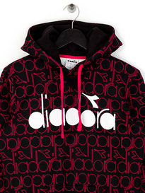 Diadora All Over Logo Hoodie Red