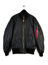 ALPHA INDUSTRIES MA-1 VF PM LEATHER BOMBER JACKET BLACK