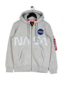 Alpha Industries NASA Zip Up Hoodie Grey
