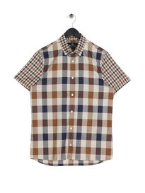 Aquascutum Dart Mixed Check Short Sleeve Shirt Brown