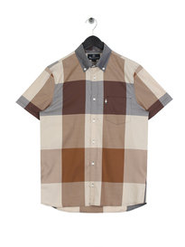 Aquascutum Henlake Giant Check Short Sleeve Shirt Brown