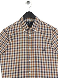 Aqauscutum York Club Check Short Sleeve Shirt Brown