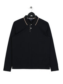 Aquascutum Bert Tipped Long Sleeved Polo Navy