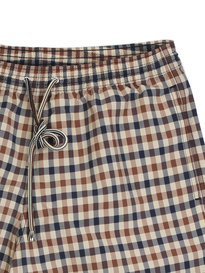 Aquascutum Carlton Check Swim Shorts Brown