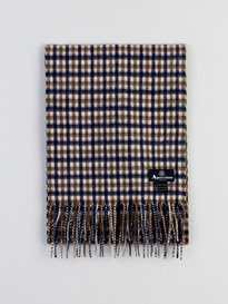 Aquascutum Club Check Lambswool Scarf Brown
