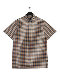 Aquascutum Club Check SS Shirt Brown