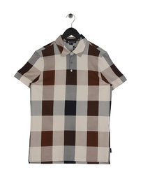 Aquascutum Cody Check Polo Shirt Brown